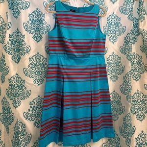 Talbots Turquoise with Red Stripes Midi Dress